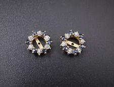 "14k Yellow Gold 0.5ct Sapphire Diamond Earring Jackets Enhancers 0.5"" EG979"