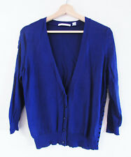 Country Road Sz M Purple-Blue Cutwork Detail 3/4 Slv V-Neck Knit Button Cardigan