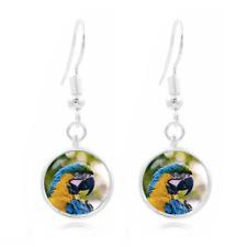 Parrot Photo Art Glass Cabochon 16mm Charm Earring Earring Hooks