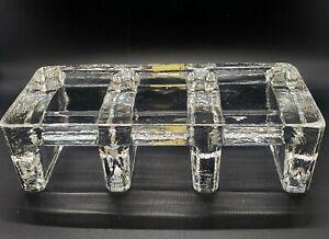 Vintage German Glass Art Bel Mondo Clear Iced Glass Trivet Warmer Stand