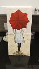 Acrylic painting woman holding an umbrella. 10x20