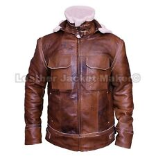 Mens Aviator Vintage Bomber Pilot Shearling Fur Real Winter Hood Leather Jacket