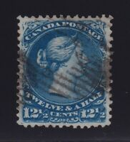Canada Sc #28 (1868) 12&1/2c blue Large Queen VF Used