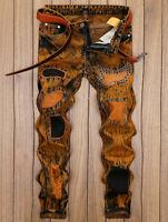 Mens Retro Distressed Jeans Pants Patch Embellished Skinny Denim Troursers 32-40