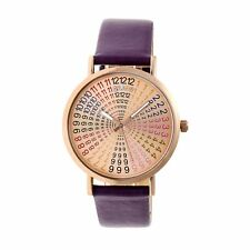 Crayo Fortune Women's Rainbow Dial Plum Band Rose Gold Watch CR4306