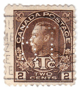 Canada: #MR4 3c Brown Admiral KGV Perfin BT (Bell Telephone) + Line in LL 2 Used