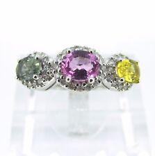 2.5 ct tw Yellow Pink Green SAPPHIRES 14k White Gold Round Cut DIAMONDS Ring 6.5