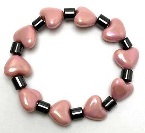 1pc Charm Pink Love Heart & Metallic Tube Plastic Elastic Bracelet Valentine