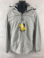 NAVIGARE Jacket Sz M Light Grey Anorak Hooded Waterproof Windproof Breathable