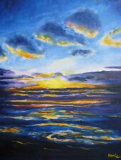 Ölbild Sonnenuntergang am Meer