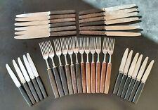 Vintage Mid-Century HEAL & SON LTD RUSNORSTAIN Cutlery 35 Set: Hardwood Handles