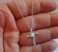 925 STERLING SILVER CROSS  NECKLACE PENDANT W/ 5MM OPAL & .50 CT LAB DIAMOND