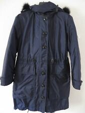 Burberry Brit Tallingford Down Coat Fox Fur Trim 3-in-1 Blue Coats Size 06 1495