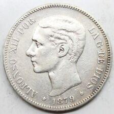 ESPAÑA ALFONSO XII 1879 *18-79 FLOJO EMM 5 PESETAS MONEDA PLATA MBC