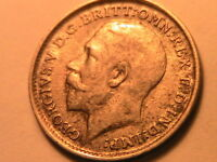 1912 GREAT BRITAIN 3 Pence Ch AU White Lustrous George V Silver Threepence Coin