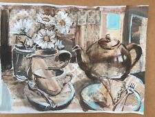 original still life painting with collage by Bernie Collins,signed on A3 paper.