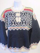 Tradicional Vintage Nórdico Noruego Patrón Broche Neck Jumper Talla M UK 10/12