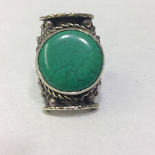 Ring Silver Repousse' Turquoise Tibetan Ring Adjustable