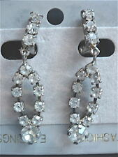 BOUCLE D'OREILLE STRASS CLIP VINTAGE 1970 NEUF /OLD /NEW EARRINGS