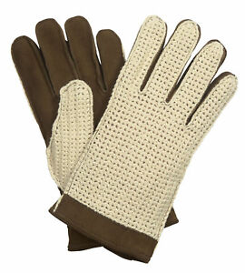 Men's Wool Lined Crochet Back Suede Driving Glove - Brown