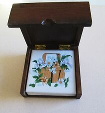 Vintage Wooden Case Tile 4 Coasters Basket Daisy White Flowers