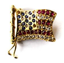 Flag Brooch Pin 26mm x 30mm 4.9g 14k Yg Red White Blue Sapphire American