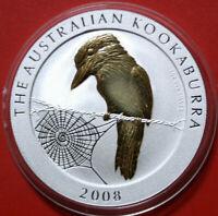 Australien 1 Dollar 2008 1 Oz-Unze Kookaburra #F3783 Nur 5000 Gold gildet