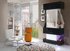 Garderobenset Kompaktgarderobe Flur GEORGE weiß schwarz hochglanz Spiegel LED