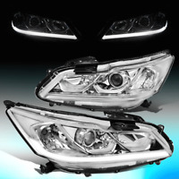 FOR 2016-2017 HONDA ACCORD EX SPORT CHROME CLEAR LED DRL PROJECOTR HEADLIGHTS