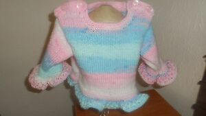 Hand knitted baby girl 0-6 months tunic