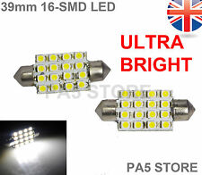 2x 39mm 16 SMD LED Bulbs 2835 WHITE C5W Festoon Number Plate or Interior Dome UK