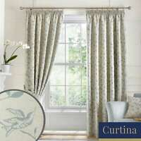 Curtina BIRD TRAIL Duck Egg Vintage Jacquard Woven Eyelet Curtains & Cushions