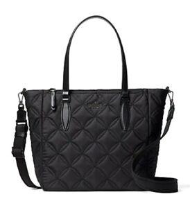 New Kate Spade New York Jae Medium Satchel Nylon handbag Quilted Black