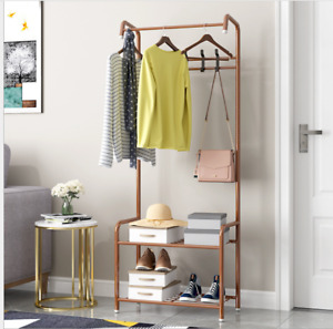 Metal Hat and Coat Stand Clothes Shoe Rack Hanger Hooks Shelf Black or White