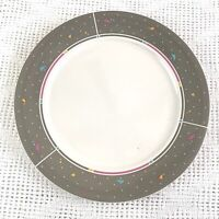 """ARITA New Traditions Japan RETRO Pattern 12.5in"""" Plate Grey w/Dots & Triangles"""