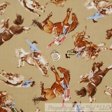 BonEful Fabric Cotton Quilt VTG Brown Pink Cow*girl Equestrian Rodeo Lasso SCRAP