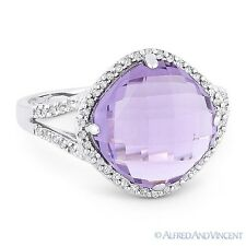 4.89ct Cushion Cut Amethyst & Diamond Right-Hand Cocktail Ring in 14k White Gold