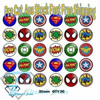 30x Superhero Cupcake Toppers Edible Icing or Wafer Precut 35mm Cake Decorating