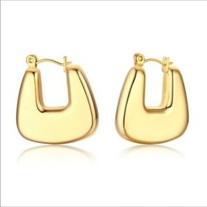 NWT House of Harlow 1960 Gold Square Hoops Chic 90s