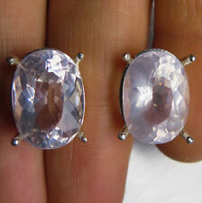 12.10cts Natural light pink rose quartz 925 sterling Silver studs earrings