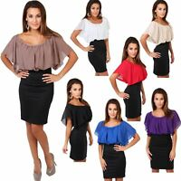 Womens Pleated Chiffon Batwing Top High Waist Pencil Bodycon Skirt Mini Dress