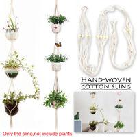 Macrame Rope Plant Hanger Garden Flower Pot 3 Layer Holder Hanging Basket Decor