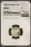 :1936 SILVER DIME GEORGE-V 10C CANADA KM# 23a LOW-POP NGC MS-62 HIGHEST-GRADES