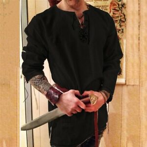 Knight Medieval Cosplay Halloween Costume for Men Shirt Viking Pirate Clothing