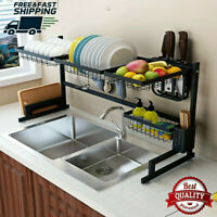 US Stainless Steel Over Sink Dish Drying Rack Bowl Shelf Kitchen Cutlery Holder