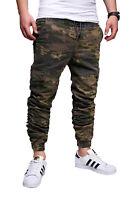 Herren Cargohose Camouflage Hose Slim Cargo Khaki Stretch Sweatpants John Kayna