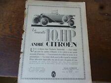 CITROEN 10 HP torpédo 152 + parfum RAMSES publicité papier MONDE ILLUSTRE 1919