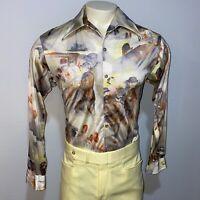Vtg 60s 70s VAN HEUSEN Disco Shirt Shiny NYLON Nik Groovy Woodstock MENS LARGE