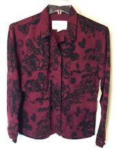 Obey Propaganda Womens Jacket Sz S Bugundy Floral Bernadette Style 221800017