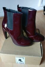 ZARA WOMAN WOMEN MAROON PATENT LEATHER HIGH HEELS ANKLE BOOTS SHOES SIZE UK 4 37